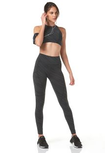 Green striped leggings and crop top outfit - SPORT RECORTES