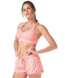 Pink fitness shorts and crop top outfit - TIRAS CRUZADAS