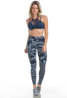 Navy blue sports bra and leggings with star pattern - TNT STAR