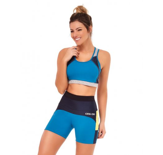 Black & blue fitness set: bra top and short leggings with yellow insert - TRES CORES