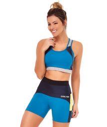 Fitnesskläder i svart och blått: bh-topp och korta leggings med gul infällning - TRES CORES