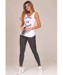 Fitness set: white tank top and graphite long leggings - YESTERDAY