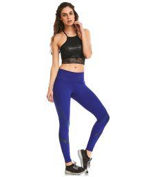 Fitness set: black top and blue leggings - BLAZE