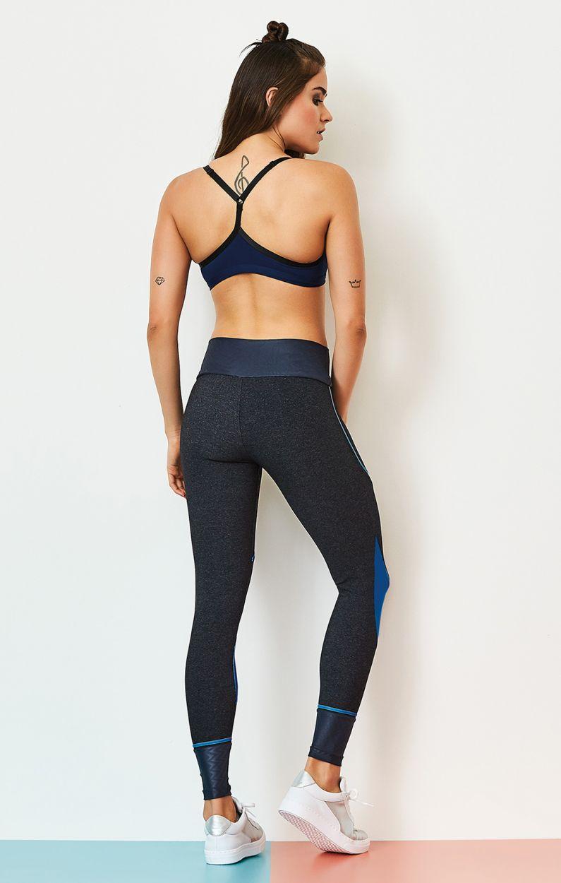 Fitness set: bra and leggins bi-material - BLUES