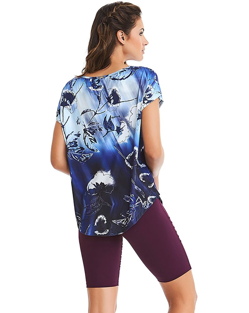 Fitness set: floral blue T-shirt and plum shorts - NZ ELETRIC