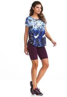 Fitness set: floral blue T-shirt and plum shorts - NZ ELETRIC