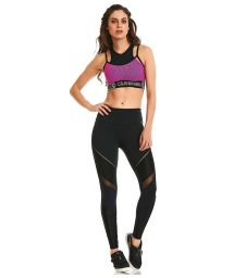 Fitness set: fuchsia bra and black leggings - NZ NATURE