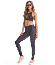 Gray striped fitness crop top and leggings - ROCK FASHION