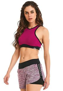 Sports set: fuchsia crop top and bi-color shorts - ROCK MOTION