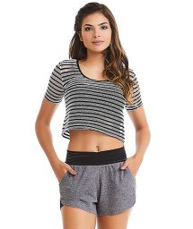 Fitness set: striped crop top and gray shorts - SEA