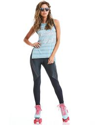 Blue tank fitness top and bi-material leggings - STAY ACTIVE