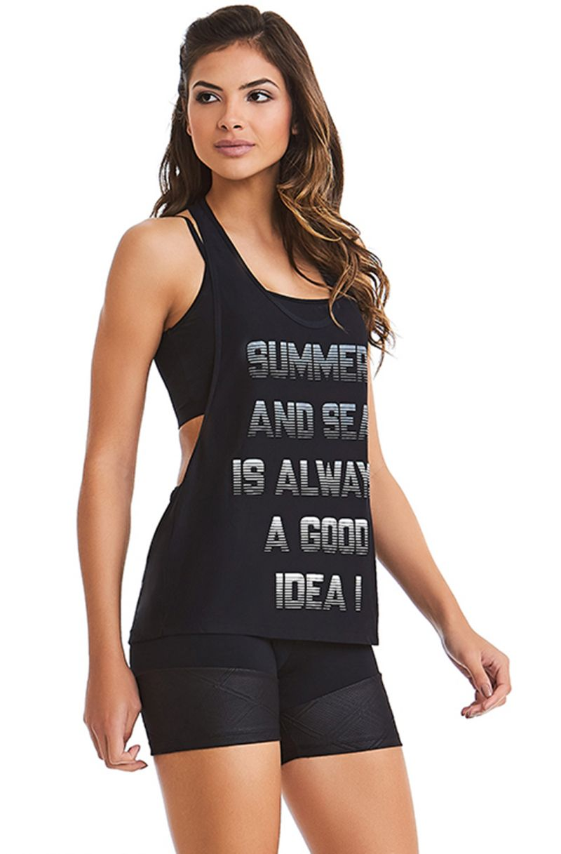 Sports tank top and black textured zipped shorts - SUMMER