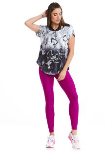 Fitness set: T-shirt and textured pink leggings - TEXTURE COAST