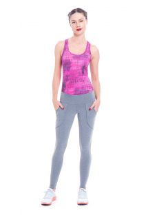 Pink workout tank top and light grey leggings - CABALLITO KABAH