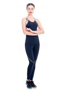 Black/printed workout leggings and tank top - TILACO BAYA