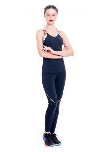 Siyah/renkli fitness askılı tişörtü ve leggıngs kadın taytı - TILACO BAYA