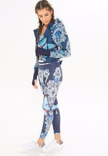 Blue zipped sports jacket with a pattern of butterflies - AGASALHO NYLON BORBOMAR