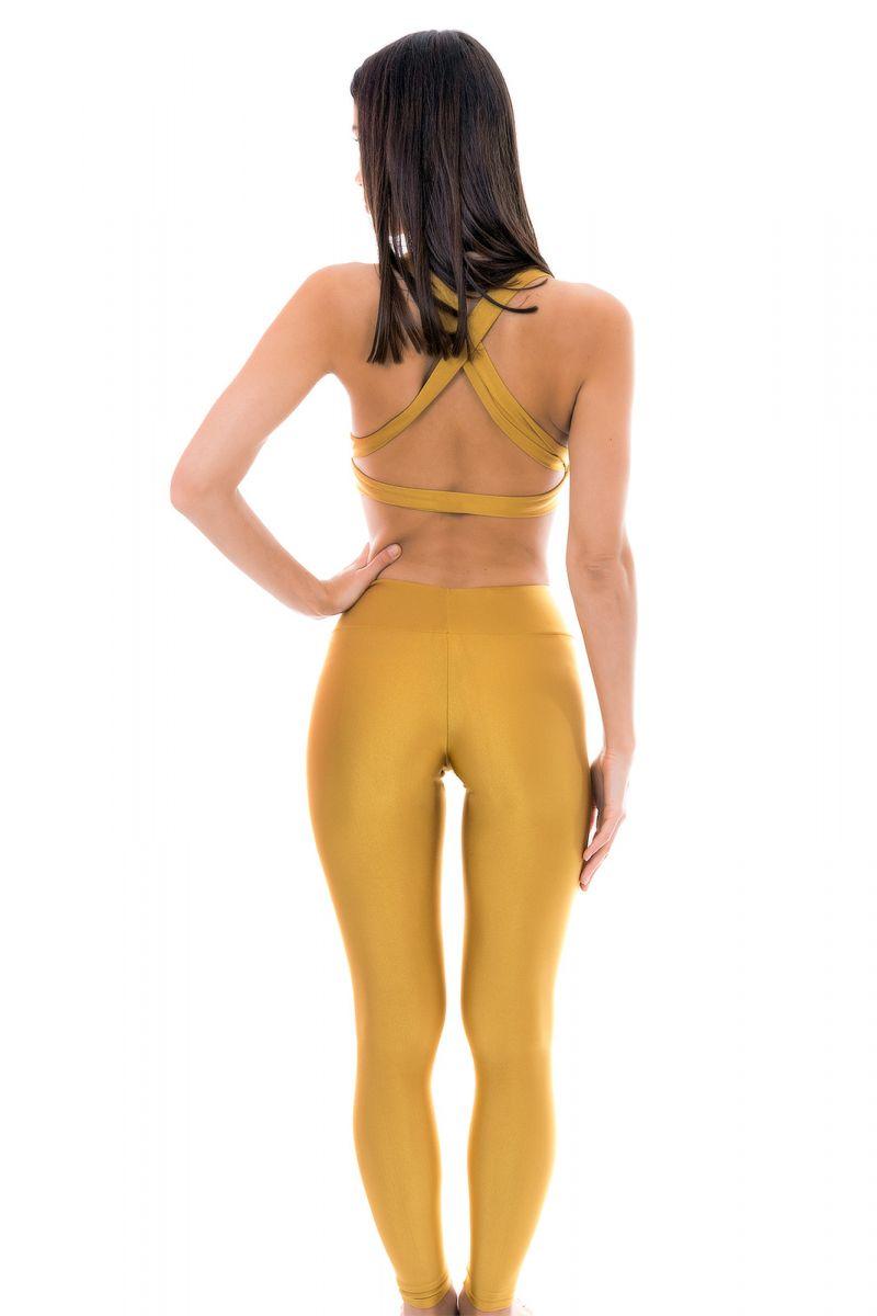 Guldfärgade träningskläder: topp och tights - GOLD FITNESS