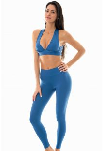 Denim blue sports bra and workout leggings - NZ ALPES FITNESS