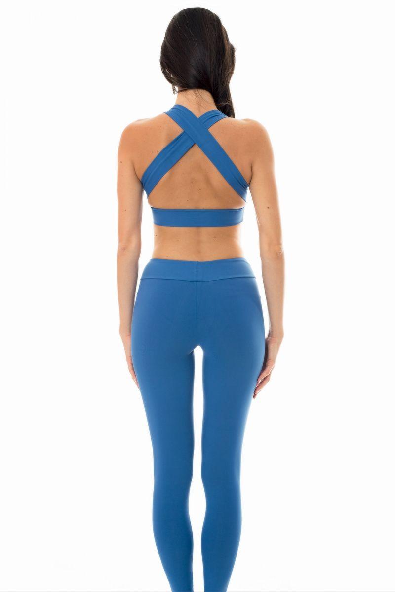 Denim blue sports bra and workout leggings - NZ ALPES FITNESS