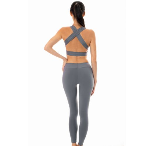 Grey sports bra and leggings set - NZ GRIS FITNESS