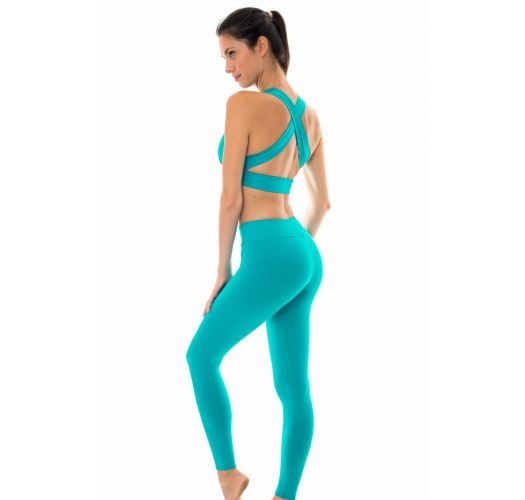 Turquoise blue sports bra and workout leggings - NZ NANNAI FITNESS