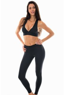 Black sports bra and workout leggings set - NZ PRETO FITNESS