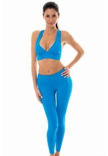 Blue sports bra and workout leggings set - NZ RESORT FITNESS