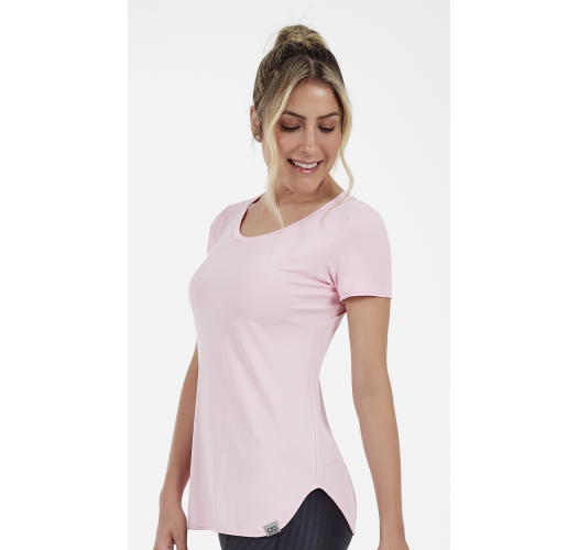 T-SHIRT SKIN FIT ALONGADA ROSA CLARA