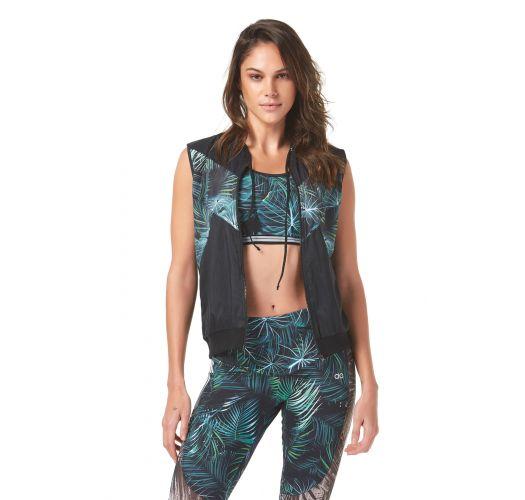 Fitnessbeha, tropisch groen bedrukt - FOLHAS DE PALMEIRA