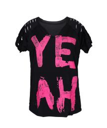 Black/pink athletic t-shirt with message and cutouts - LEGGERISSIMO YEAH