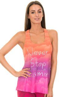 Majica za fitnes v prelivajoči se oranžni, vijolični in roza barvi - NUVENS AMORA