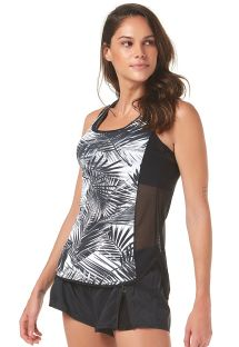 Tropical black bi-fabric sports vest top - PALMEIRA IMPERIAL