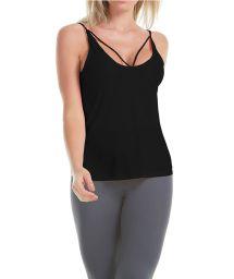 Black strappy fitness top - REGATA SHEER