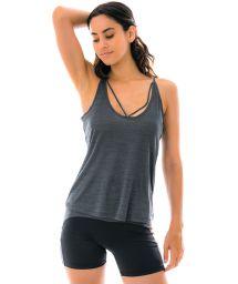 Grey fitness tank top deep back neckline - REGATA SHEER COM RELETE