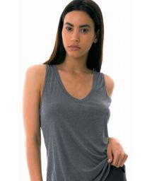 Grey fitness top with V neckline - REGATA SKIN FIT GOLA CINZA