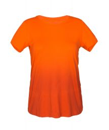 Shaded orange athletic t-shirt with round collar - SKIN FIT DEGRADE