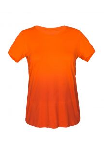 T-shirt desportiva laranja em degradé, decote redondo - SKIN FIT DEGRADE