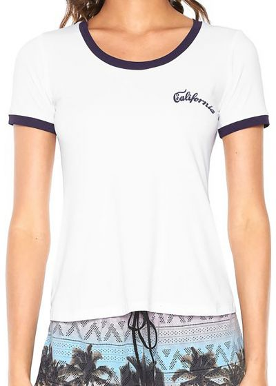 Sporty white t-shirt with contrasting edges - T-SHIRT CALIFORNIA