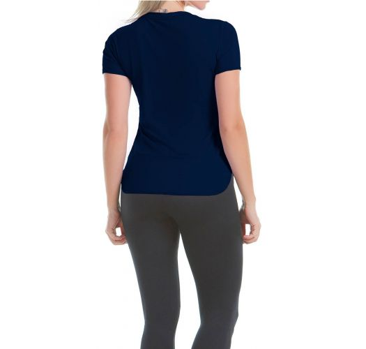 Short sleeve navy women's sports t-shirt - T-SHIRT SKIN F NAVY
