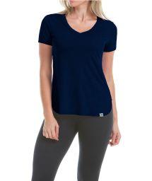 Short sleeve navy women's sports t-shirt - T-SHIRT SKIN F NAVY