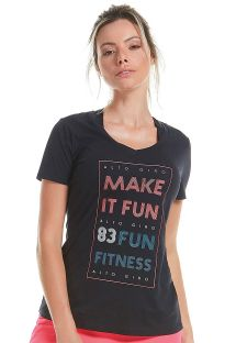 Black t-shirt with short sleeves with inscription - T-SHIRT SKIN FIT MAKE IT FUN