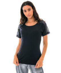 Bi-material black open back fitness t-shirt - T-SHIRT SKIN FIT PRETO