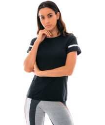 Black sport t-shirt with stripes - TOP ATHANTA RECORTES PRETO