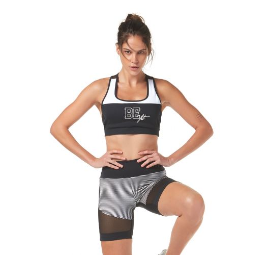 Racerback black & white fitness top - TOP BE FIT BLACK