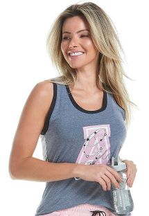 Gray sports tank top with pink logo - TOP BE HAPPY