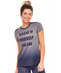 Gradient grey / blue sporty T-shirt - TOP BELIEVE IN YORSELF