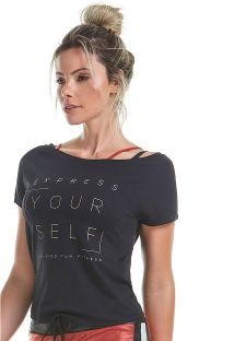 T-shirt desportiva c/ mangas curtas preta c/ mensagem - TOP DUBAI DANCE