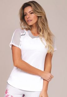 White bimaterial fitness T-shirt with open back - TOP FLOR DE SAL