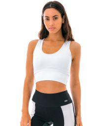 White fitness crop top with laced back - TOP LIGHT ROLETE